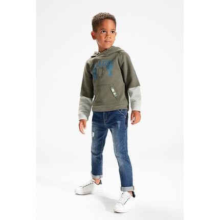 2-in-1 effect hooded fleece sweatshirt