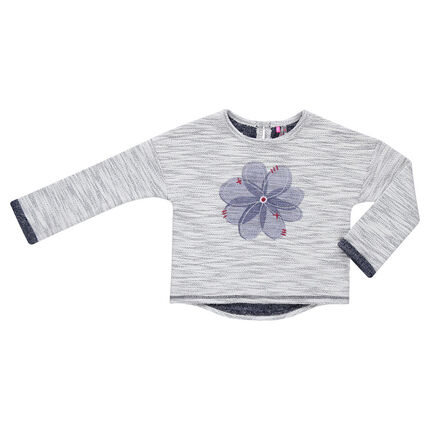Trendy sparkly fleece sweat shirt with printed flower