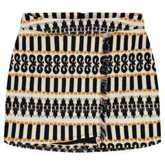 Junior - Short jacquard skirt with fringes