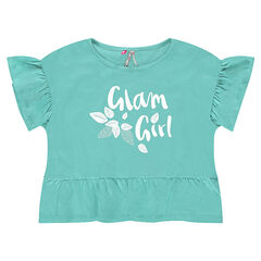 Short frilled jersey tee-shirt with a printed message