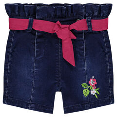 Used denim-effect fleece shorts with a smocked waistband and contrasting ribbon