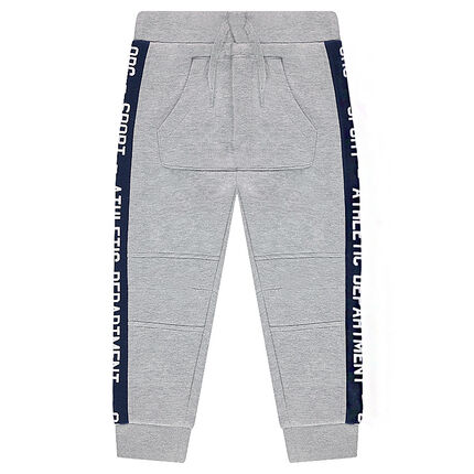 Fleece sweatpants with contrasting bands and pocket