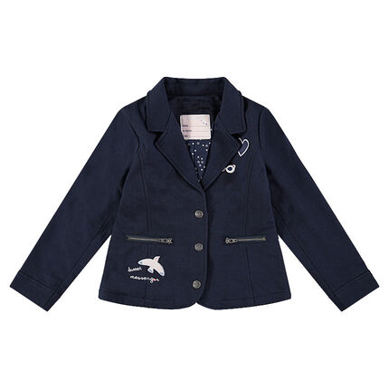 Fleece blazer with badges and zipped pockets