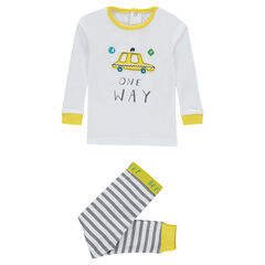 Jersey pajamas with car patch and striped pants