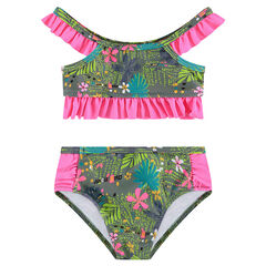 2-piece swimsuit with an allover print and frills