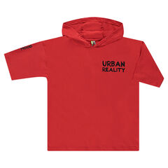 Short-sleeved sweatshirt in light fleece