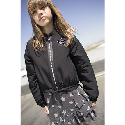Junior - Nylon jacket with printed zippered opening