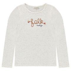 Junior - Slub jersey tee-shirt with cord embroidery