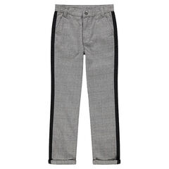 Junior - Prince of Wales checkered pants with contrasting bands