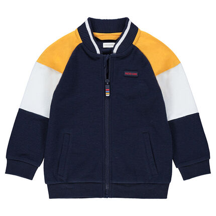 Letterman-style fleece jacket with contrasting sleeves