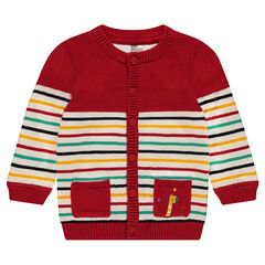 Knit cardigan with contrasting stripes and an embroidered giraffe