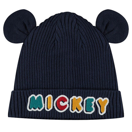 Ribbed knit cap with ©Disney Mickey Mouse ears in relief