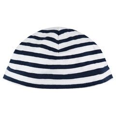 Jersey cap with contrasting stripes
