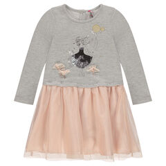 2-in-1 effect dress in fleece and tulle with printed doll