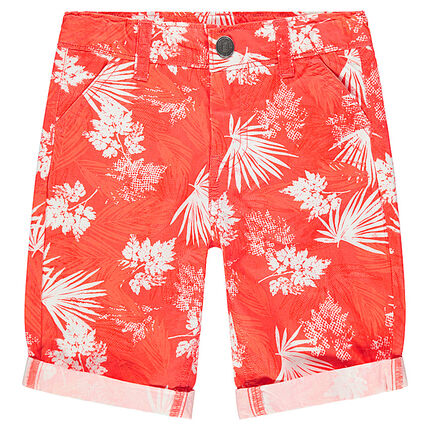 Trendy cotton bermuda shorts with plants printed all over
