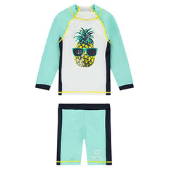 Anti-UV swim ensemble with pineapple print