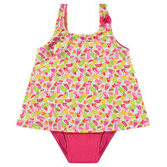 1-piece dress-style swimsuit with an allover print