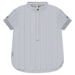 Short-sleeved striped shirt with mao collar