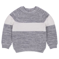 Junior - Ottoman Knit Sweater with Contrast Band