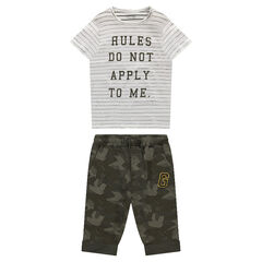 Striped Short Sleeve T-Shirt with Army Fleece Bermuda Shorts