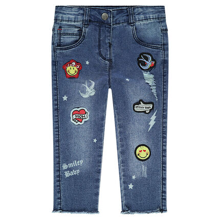Used-effect jeans with ©Smiley badges