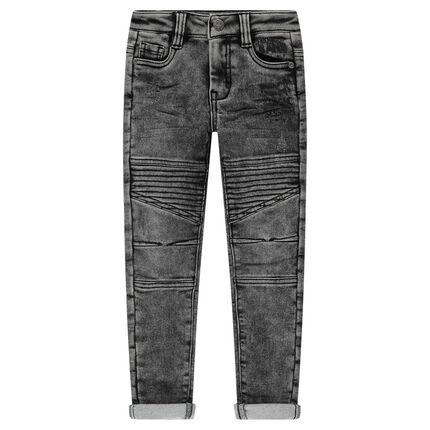 Used-effect denim-like jeans with guitar badge
