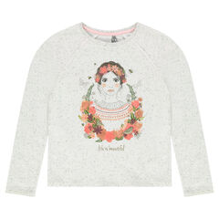 Junior - Heathered fleece sweatshirt with print