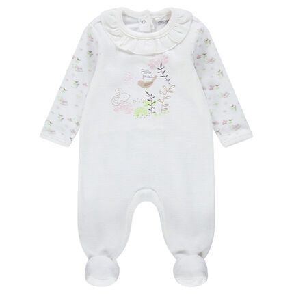 Velours footed sleeper with ruffled neck and embroidered motifs