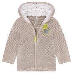 Hooded knit cardigan with animal badge patches