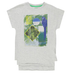 Junior - Long short-sleeved tee-shirt with decorative print and bird