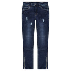 Junior - Used and crinkled-effect jeans with seaming and tears