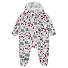 Sherpa-lined snowsuit with an allover animals motif