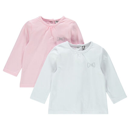 Set of 2 plain-colored, long-sleeved tee-shirts with a silver bow print