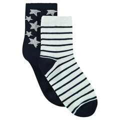 Set of 2 pairs of starry/striped socks