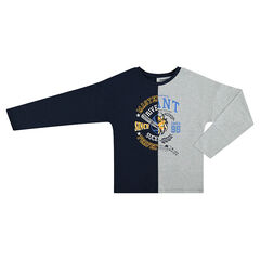 Junior - Long-sleeved two-tone tee-shirt with motif