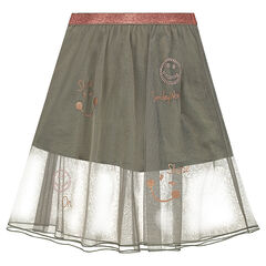 Long tulle skirt with rhinestones and copper-colored ©Smiley prints