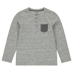 Junior - Long-sleeved slub jersey tee-shirt with pocket