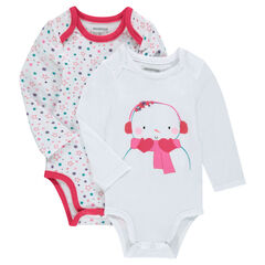 Set of 2 long-sleeved bodysuits with a Christmas motif