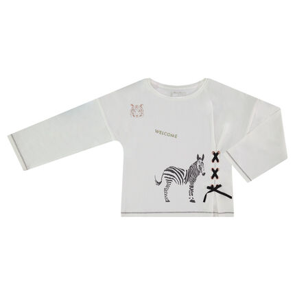 Long-sleeved tee-shirt with sparkly prints and fancy lacing