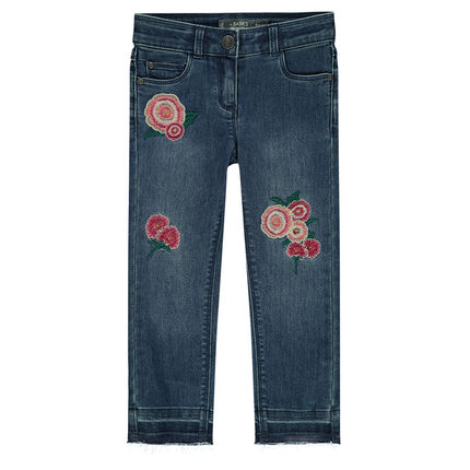 Junior - Used-effect jeans with embroidered roses