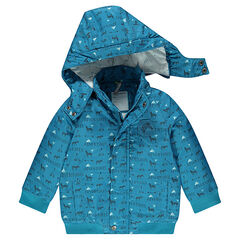 Parka with an allover print and removable hood