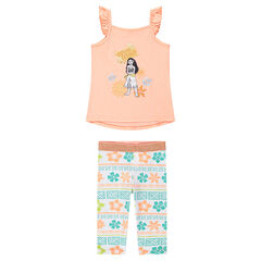 Ensemble with a tank top featuring a Moana print and leggings with an allover print