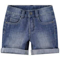 Worn and crinkled-effect denim bermuda shorts