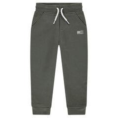 Pantalon de jogging en molleton chiné avec print logo