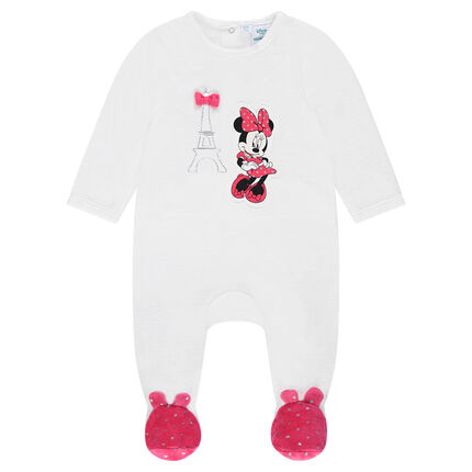 Disney velvet footed sleeper with contrasting feet and a Minnie Mouse print