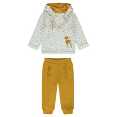 Two-tone fleece sweatsuit with a jacket featuring an embroidered fawn, and ruffled pants