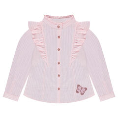 Long-sleeved striped shirt with frills and sequined butterfly