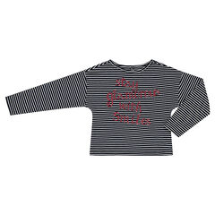 Striped, box fit tee-shirt with message