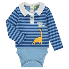 2-in-1 effect long-sleeved striped bodysuit with dinosaur print