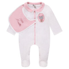 Sleeper in polka dot velvet with detachable jersey bib
